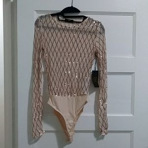 Tan/Rose gold sheer sequence body suit. Small.